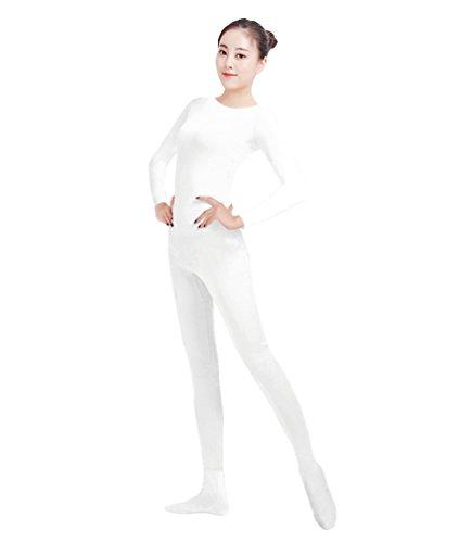 NiSeng Erwachsener und Kind Ganzkörperanzug Kostüm Lange Ärmel Bodysuit Kostüm Zentai Offene Bodysuit Kostüm Weiß XL (Weißer Bodysuit Kostüm)