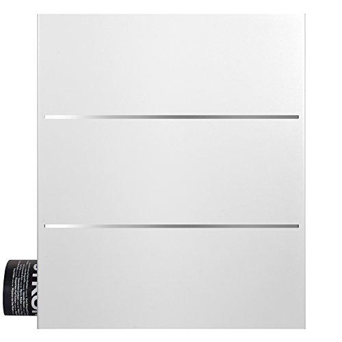 MOCAVI Box 141 Moderner Design-Postkasten mit Zeitungsfach weiß (ral 9003) mit Edelstahl-Dekor, Wandbriefkasten groß