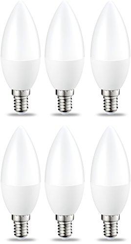 AmazonBasics E14 LED Lampe, Kerzenform, 6W (ersetzt 40W), warmweiß, dimmbar- 6er-Pack