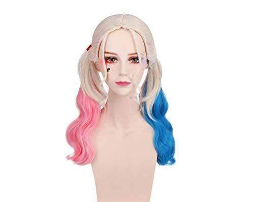 YUFAA Suicide Squad Dress Up mit dem gleichen Stil Doppel-Pferdeschwanz-Perücke von Harley Quinn (Color : PinkBlueWhite, Size : Einheitsgröße) (Perücke Twin Tail)
