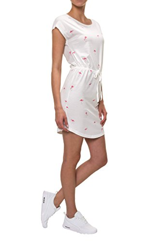 ONLY Damen Sommerkleid Jerseykleid Shirtkleid Print (M, Cloud Dancer/Flamingo)