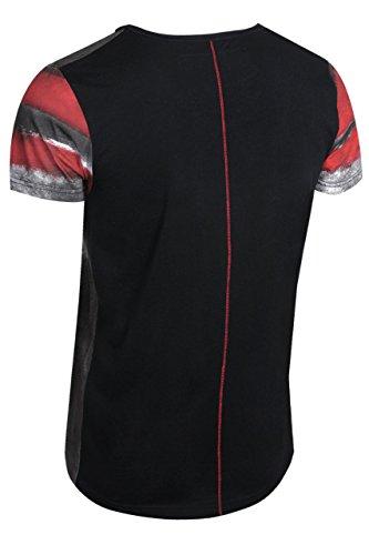 trueprodigy Casual Herren Marken T-Shirt mit Aufdruck, Oberteil cool und stylisch mit V-Ausschnitt (kurzarm & Slim Fit), Shirt für Männer bedruckt Farbe: Rot 1072132-1550 Red
