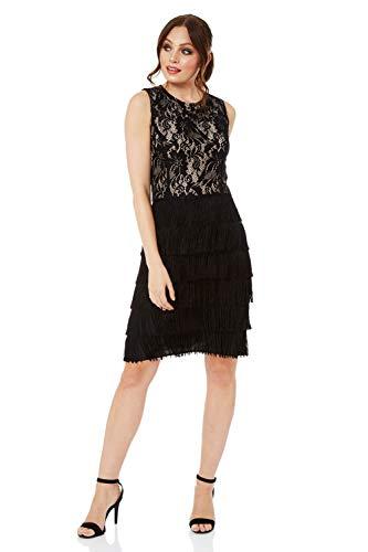 Roman Originals Damen-Kleid mit Spitze und Fransen - ärmellose, knielange Kleider, Vintage, Retro, Flapper, kleines Schwarzes, zum Ausgehen, für Partys, Cocktails - Schwarz - Größe 42