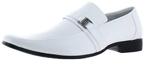 Moda Essentials Herren 's Schnalle Slip auf Loafer Kleid Schuhe UK Größen, weiß - weiß - Größe: 46 (Moc Penny)