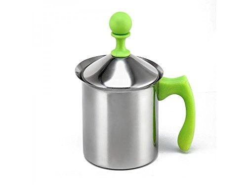 GIRM®® - HX100287 Mixer Cappuccino in Acciaio Inox 800 ml Verde - Montalatte Manuale - Mixer caffè Latte - Ideale Pre Creare Una Schiuma Perfetta
