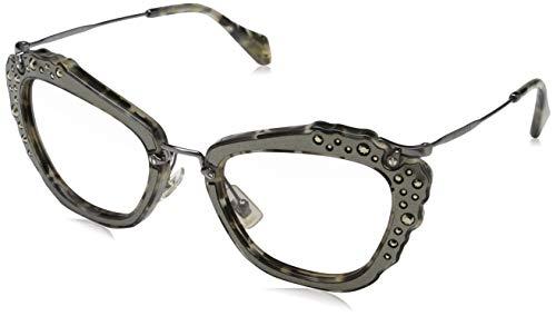 Miu Miu Damen 0MU04QS DHE3H2 55 Sonnenbrille, Schwarz (Marble White Black/Green Pink),