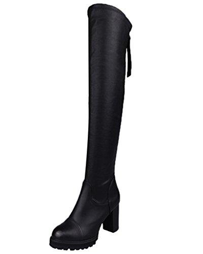 Minetom Donna Inverno Boots Stivali Da Neve Cotone Imbottito Cunei Scarpe Termico Stivali Di Pelle Nero01 EU 37