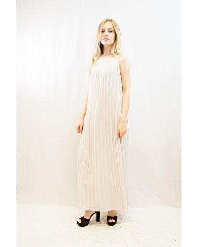 Lady's 280gr élégant Unis Color Maxi robe de soirée/mariage/fête Blanc - Crème