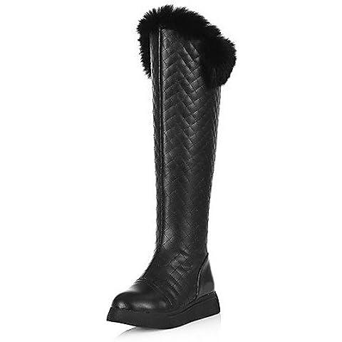 Donne solido del materiale misto Tacchi Bassi Round punta chiusa Zipper Boots,Black,US5 / EU35 / UK3 / CN34