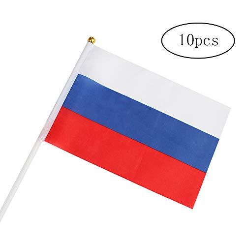 e 10PCS / Packung Russland Hand Waving Flags Mini Nationalflagge Hand 14 gehaltene * 21CM Dekor für Büro-Schreibtisch-Garten Parades Bar Schule Sport Veranstaltungen Festival Feste ()