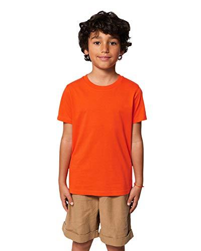 Hochwertiges Kinder T-Shirt aus 100% Bio-Baumwolle für Mädchen und Jungen. Eignet sich hervorragend zum bedrucken. (z.B.: mit Transfer-folien/Textilfolien), Size:134/146, Color:Tangerine -