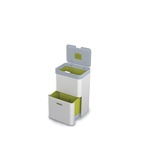 Joseph Joseph intelligent Totem de recyclage des déchets et recyclage Unit, 48l, EN ACIER, Argent, 40x 30x 66cm