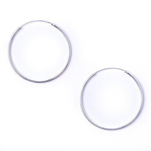 81stgeneration+paio+di+orecchini+in+argento+925,+tondo+1+mm+cerchio+35+mm