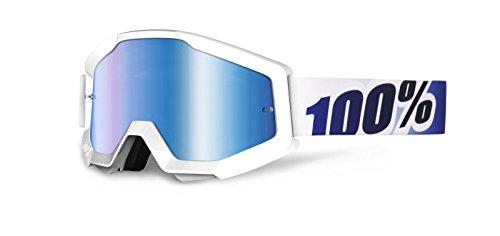 MOTOCROSS BRILLE CROSSBRILLE WEISS BLAU VERSPIEGELT 100% STRATA ICE AGE BRILLE GOGGLE QUAD ATV MX SX CROSS MTB OFFROAD
