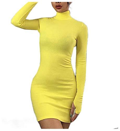 VITryst Women Long-Sleeve High Neck Regular Bodycon Pencil Long Dress AS1 S - Glitter Slinky