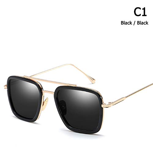 ZHOUYF Sonnenbrille Fahrerbrille Mode Avengers Tony Stark Flug Stil Sonnenbrille Männer Platz Luftfahrt Markendesign Sonnenbrille Oculos De Sol, A
