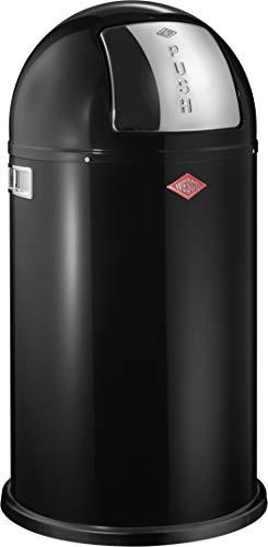 Wesco 175 831 Pushboy Abfallsammler 50 Liter schwarz 40 x 40 x 75.5cm (L/B/H), Edelstahl