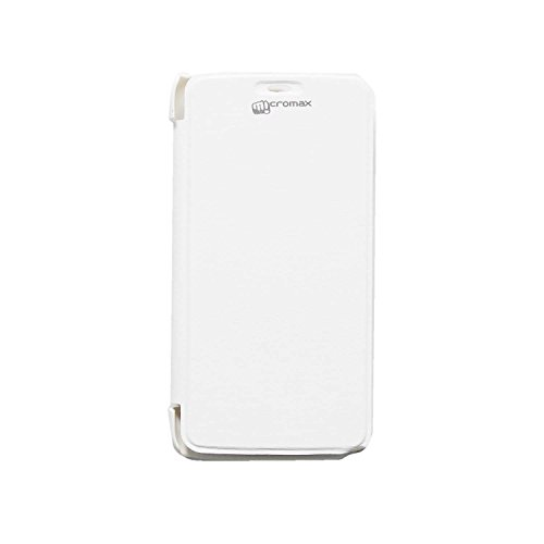 iCandy™ Synthetic Leather Flip Cover For Micromax Canvas Juice A77 - WHITE  available at amazon for Rs.155