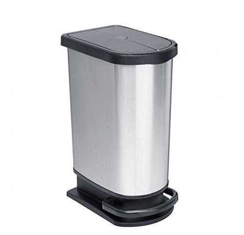 Rotho Mono Paso Mülleimer 50 l mit Deckel, Kunststoff (PP), silber metallic, 50 Liter (44 x 29 x 67 cm) 50l Bin