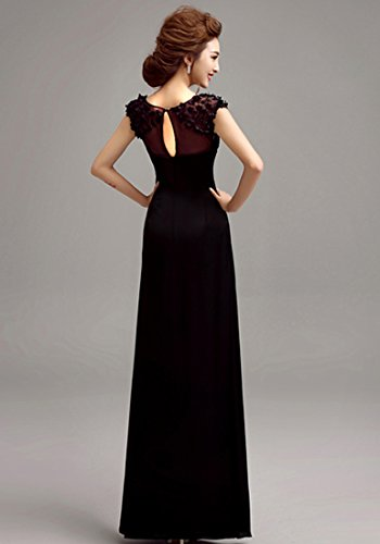 Beauty-Emily Elegante O-Ansatz Flügelärmeln Mit Blumen A-Linie Abendkleid Schwarz
