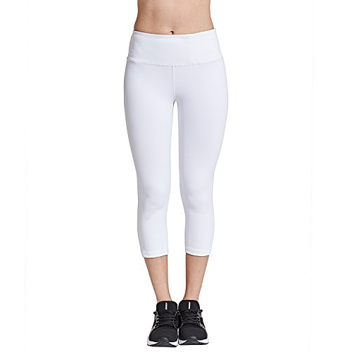 COOLOMG Damen Yoga Capriss 3/4 Hosen Kompression Leggings Sport Trainingshose Weiß M (Damen Weiße Trainingshose)