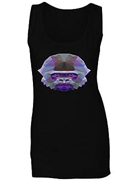 Gorila poligonal triángulo origami camiseta sin mangas mujer g348ft