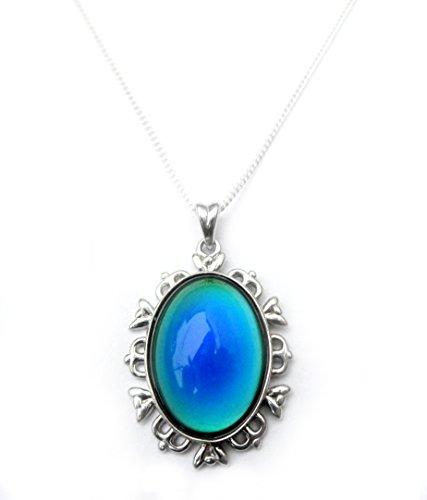 Sterling Silber Stimmung Anhänger Halskette 18zoll–Punze–von bestmoodrings (Stimmung Ring Und Halskette)