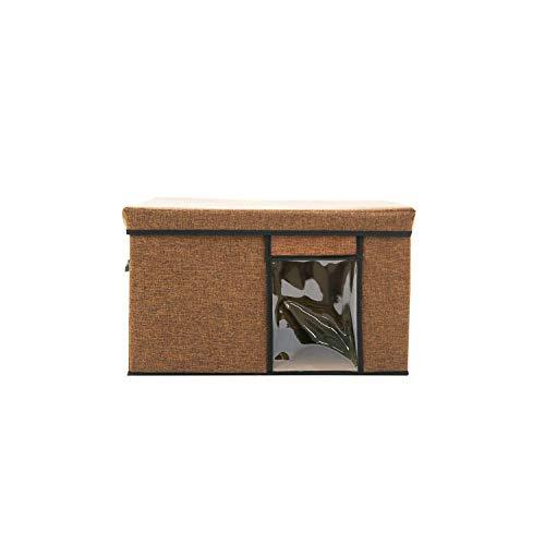 Archiba Multi-functional storage box Kleidung Aufbewahrungsbehälter Faltbare Unterwäsche Quilt Aufbewahrungsbehälter mit Perspektive Fenster Garderobe Organizer, L 51X41X30.5Cm, Brown
