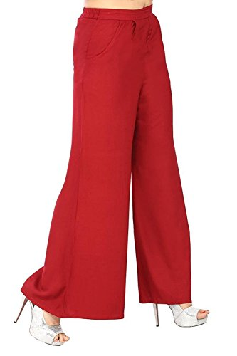 VINIE Women's Wide Leg Palazzo - PPP104_Red_Free Size