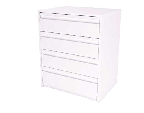 Samblo Kai Schublade, Holz, Weiß, 45x60x73 cm - Schublade, Breite Kommode