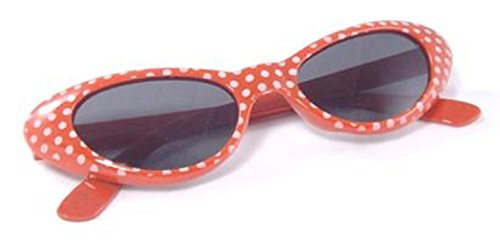 BFD Gafas de sol lunares y ojo de gato, color rojo y blanco, un par de gafas de sol con marco de plástico para disfraces cosplay