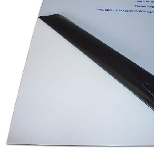 B&T Metall Aluminium Blech-Zuschnitt weiß lackiert RAL 9016, foliert | 1,0mm stark | Größe 10 x 100 cm (100 x 1000 mm)