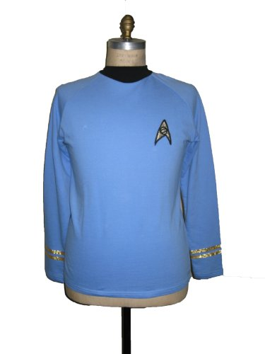 Trek Star Classic Kostüm - Filmwelt Shop STAR TREK Kostüm TOS Classic Spock Uniform shirt blau - Baumwolle - L