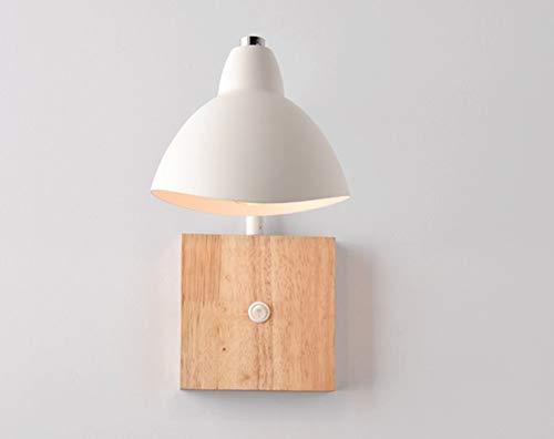 Dormitorio de madera maciza nórdica noche lámpara de mesa de pared Hotel...