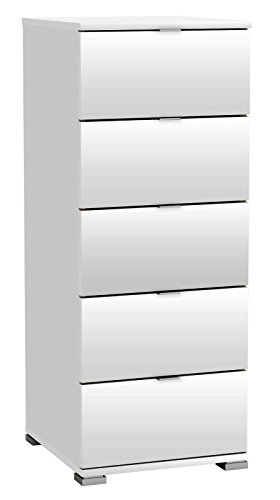 habeig KOMMODE Perfect 222 weiß 5 Schubladen Flurschrank Schrank Wäscheschrank Holz Neu (Kommode Schubladen Kunststoff)