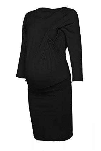 Happy mama. donna abito prémaman. vestito trapezio maniche a pipistrello. 264p (nero, it 40/42, s)