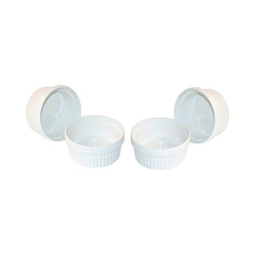 ToCi 4 weiße Creme Brulee Förmchen 11 cm | Schälchen für Ragout Fin | Pastetenform aus Keramik | auch für Schoko-Souffle