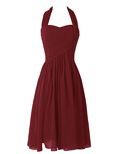 Dresstells, A-ligne robe mousseline de demoiselle d'honneur robe de soirée de cocktail longueur au genou Bleu
