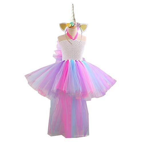 Amosfun Mädchen Einhorn Kostüm Regenbogen Einhorn Kleid Einhorn Horn Stirnband für Mädchen Einhorn Party Dress Up für 8-9 Jahre ()