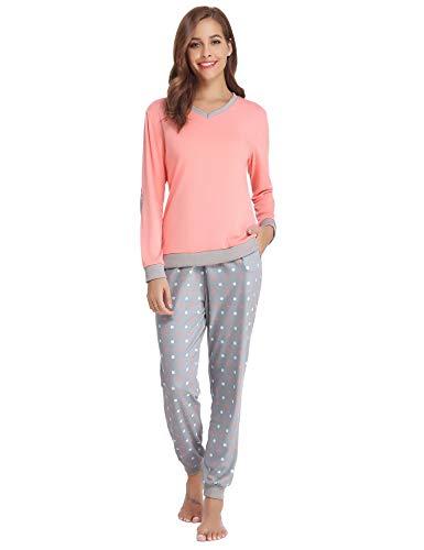 Aiboria Damen Schlafanzug Pyjama V-Ausschnitt mit Gepunkte Hose Baumwolle Lang Freizeithosen Jerseyhose Schlafanzughose Set Pant Zweiteiliger Anzug Nachtwäsche -