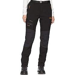 DENGBOSN Femme Pantalon Softshell Imperméable Pantalon Randonnée Thermique Étanche Coupe-Vent Hiver Automne Pantalon de Montagne Escalade Ski,KZ1812-Black-XL