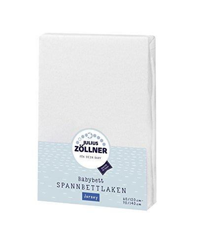 Preisvergleich Produktbild Julius Zöllner 8320147760 - Spannbetttuch Jersey für das Kinderbett, Größe: 60x120/70x140 cm, Farbe: weiß