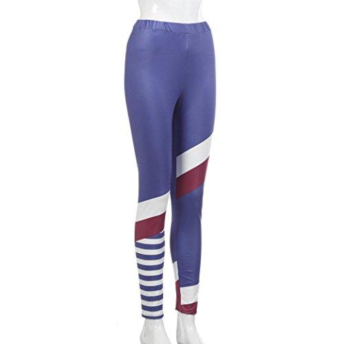 Amlaiworld Donne Moda stampa yoga Leggings fitness sport Pantaloni Blu