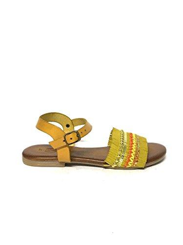 Divine follie sandali tacco basso in vera pelle etnici cuoio giallo, 37 mainapps