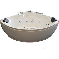 Baignoire balneo Ouest-balnéo baignoire angle 152cm x 152cm x 62cm (1 LEDs 7 couleurs, 20 jets massants, blanche, grande taille, rechauffeur, ozonateur, toute options) spa jacuzzi grande baignoire à bulle certification TUV allemande