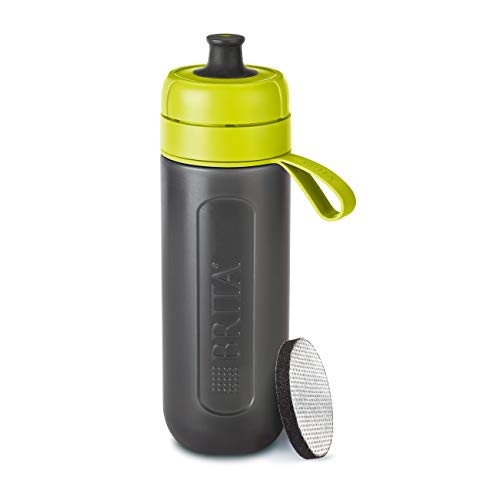 BRITA Wasserfilter-Flasche fill&go Active Limone - Robuste Sport Trinkflasche mit Wasserfilter für unterwegs aus BPA-freiem Kunststoff - Zusammendrückbar