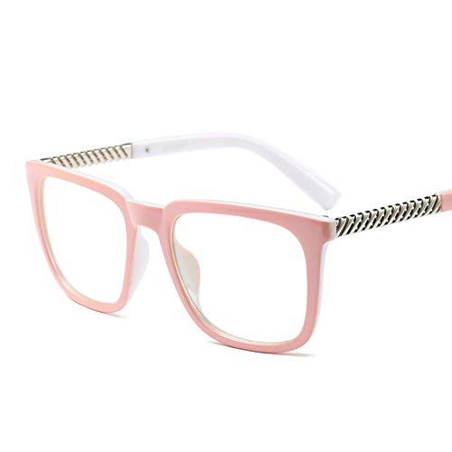 Retro Square Brillengestell, kann mit Myopie Brille für Frauen ausgestattet Werden Brille (Farbe : Rosa)