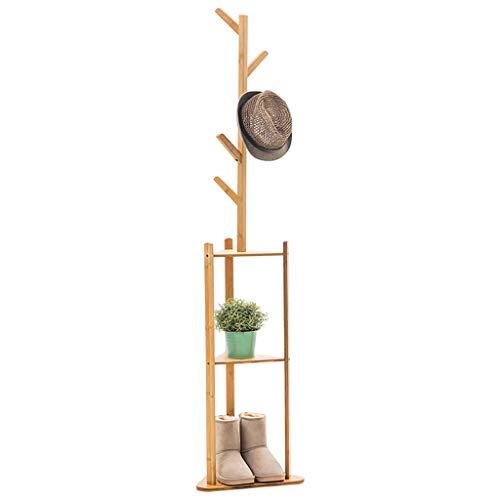 LYN-MEMORY Garderobenständer, Floor Coat Rack, Coat Tree, Hall Tree freistehend, minimalistischer Stil, 2 Regale, Kleidung, Hut, Tasche (Log Farbe) - Coat Tree