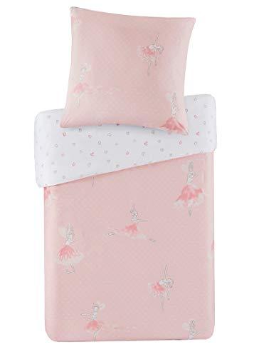 SCM Kinder Bettwäsche 135x200cm Ballerina 100% Baumwolle Renforcé 2-teilig Deckenbezug Kopfkissenbezug 80x80cm Ballett Mädchen Queen Prinzessin Kinderbett Rosa Pink Amelia