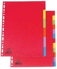 ELBA Karton-Register, blanko, DIN A4, farbig, 12-teilig
